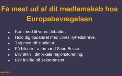 Få mest ud af dit medlemskab hos Europabevægelsen
